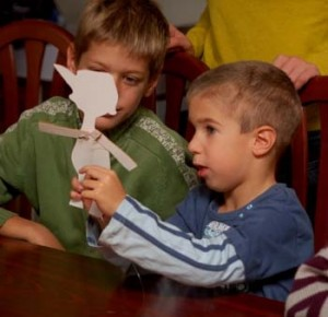 Boys with paper model